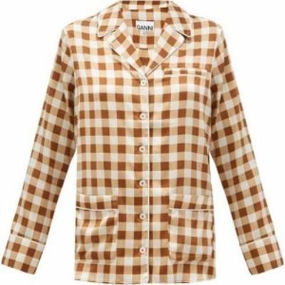 ガニー Ganni レディース ブラウス・シャツ トップス Gingham silk-blend satin shirt Brown