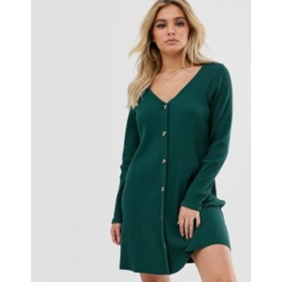 エイソス レディース ワンピース トップス ASOS DESIGN super soft rib button through swing dress Dark emerald