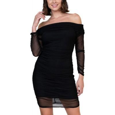 ベベ bebe レディース ボディコンドレス タイト ワンピース・ドレス Mesh Off-The-Shoulder Bodycon Dress Black
