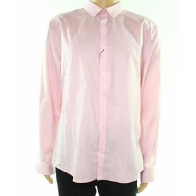 Calvin Klein カルバンクライン ファッション ドレス Calvin Klein NEW Pink Mens Size XL Solid Button Down Dress Shirt
