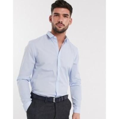 ニュールック メンズ シャツ トップス New Look long sleeve poplin shirt in blue Blue