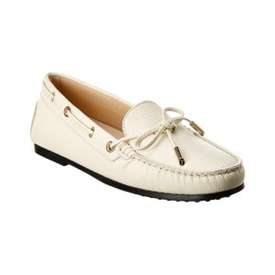 トッズ レディース サンダル シューズ TOD's Gommino Leather Loafer white embossed leather