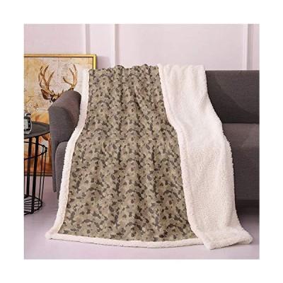 [新品]SeptSonne Camouflage Sherpa Fleece Blanket,Earth Tones Repetitive Camo Pattern Design Hunting Fashion Inspired Digital Printing