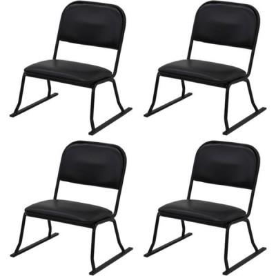 エイ・アイ・エス 楽座椅子 ロータイプ ブラック RCL-01BK-4PCS 1セット(4脚入)(直送品)