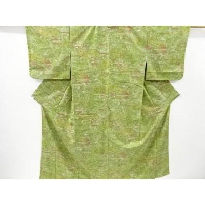 宗sou 家屋風景模様手織り節紬着物【リサイクル】【着】