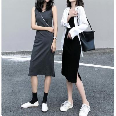 見た目カワイイ💋韓国ファッション 春と秋 減齢 新作 韓国語 上品映え ハイウエスト 中・長セクション ワンビース エレガント 百掛け 学院風 気質 オシャレ 長袖 学生🌈オールシーズン使えます�