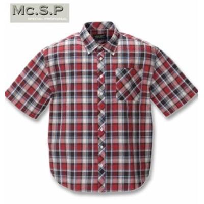 大きいサイズ Mc.S.P チェック半袖シャツ ピンク×サックス 3L 4L 5L 6L 8L/1257-0201-2-39