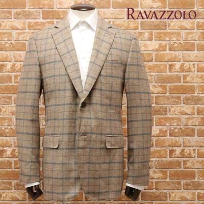 秋冬 Ravazzolo Italy製ジャケットPIACENZA社カシミヤ シルク ビーバー極上しっとり チェック 贅沢 ラグジュアリー インポート メンズ ラヴァッツォーロ