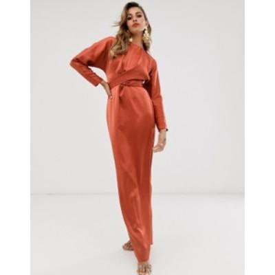エイソス レディース ワンピース トップス ASOS DESIGN maxi dress with batwing sleeve and wrap waist in soft rust satin Soft rust