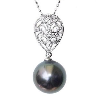 ネックレスペンダント 黒真珠パール K18ホワイトゴールドネックレス ダイヤモンド