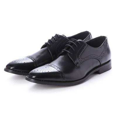 ジーノ Zeeno ビジネスシューズ メンズ 革靴 ロングノーズ 防滑 メダリオン レースアップ 外羽根 (Black)