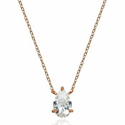 Rose Gold Flashed Sterling Silver Cubic Zirconia 8x5mm Teardrop Solitaire Necklace