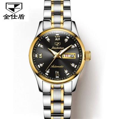 Jsdun  automatic ステンレス鋼 機械式 腕時計 女性 自動カレンダー 発光 Women