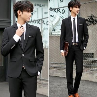 メンズスーツ 2点セット テーラードジャケット パンツ ブラックフォーマル スーツ 就職活動 面接 リクルート ビジネススーツ 上品
