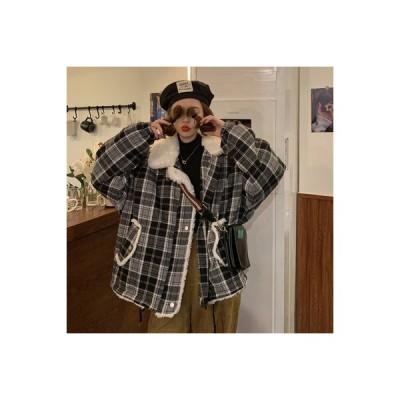 【送料無料】~ 韓国風 レトロ オーバーサイズ 風 フェイク子羊ウール ルース 冬 手厚い 格子ジャ | 346770_A64224-9566377