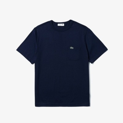 [ラコステ]ベーシッククルーネックポケットTシャツ (半袖) ホワイト XS(002) メンズ アウター/トップス ネイビー M(004)