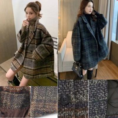 ウールコート 韓国 オルチャン ファッション あったか ミディアム丈 チェック グレンチェック 暖かい カジュアル 体型カバー 大きいサイ