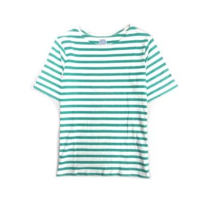 【中古】フリークスストア FREAKS STORE ボーダー Tシャツ カットソー 半袖 M 緑×白 112-1231 レディース★8  【ベクトル 古着】