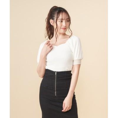 MIIA / 配色ハートネックトップス WOMEN トップス > Tシャツ/カットソー