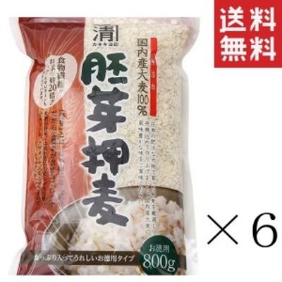 クーポン配布中!! 西田精麦 国産 胚芽押麦 800g×6袋 まとめ買い 押し麦 無添加 麦ご飯 お徳用 送料無料