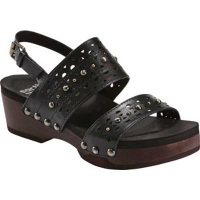 アース レディース サンダル シューズ Pine Toba Strappy Sandal Black Leather