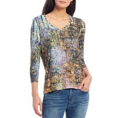 レバ レディース Tシャツ トップス Stud Embellished Snake Print Burnout Jersey V-Neck 3/4 Sleeve Knit Tee