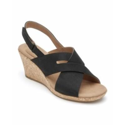ロックポート レディース サンダル シューズ Women's Briah Slot Sling Wedge Sandals Black