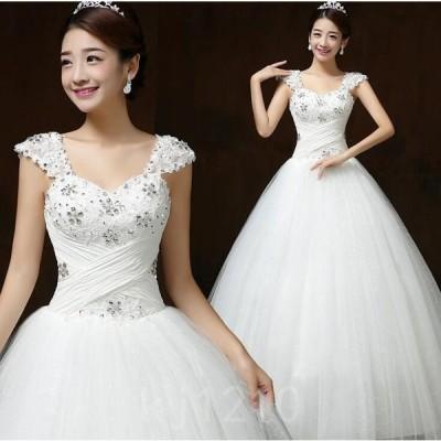 ウェデイングドレス花嫁ドレス袖なしウエディングロングドレスレース白ドレスプリンセスライン結婚式披露宴ブライダル花柄