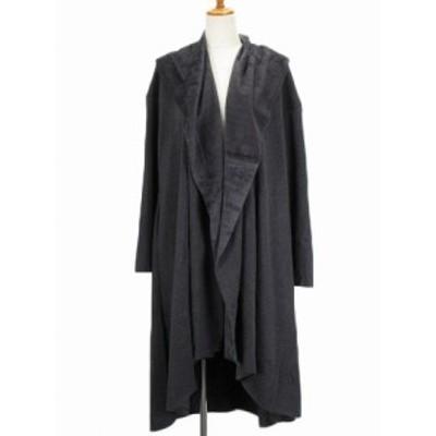 【中古】ミディウミソリッド MIDIUMISOLID ドレープロングコート グレー 黒 ブラック レディース