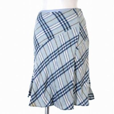 【中古】バーバリーブルーレーベル BURBERRY BLUE LABEL ひざ丈 スカート チェック柄 フレア 36 レディース