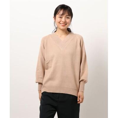 Lace Ladies / Vネック 長袖ルーズフィット 無地ニット WOMEN トップス > ニット/セーター
