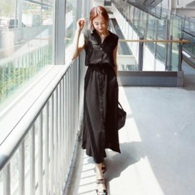 レディースファッション ワンピース オールインワン ワンピースシャツワンピース  ロング マキシ丈 大きいサイズ