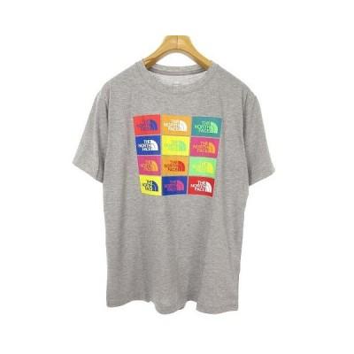 【中古】未使用品 ザノースフェイス THE NORTH FACE NT32049 S/S Colored Half Dome Logos Tee ロゴ プリント Tシャツ 半袖 L グレー 国内正規品 メンズ