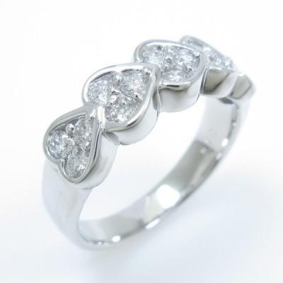 K18WG ハート ダイヤモンドリング