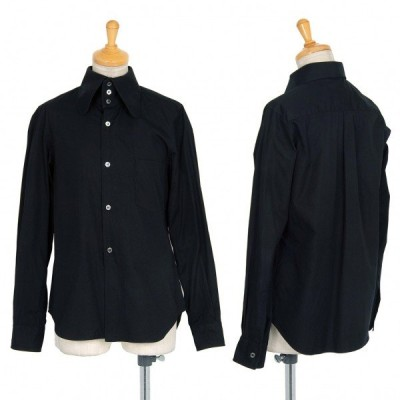 コムデギャルソンCOMME des GARCONS コットンラウンドハイカラーシャツ 黒XS 【レディース】