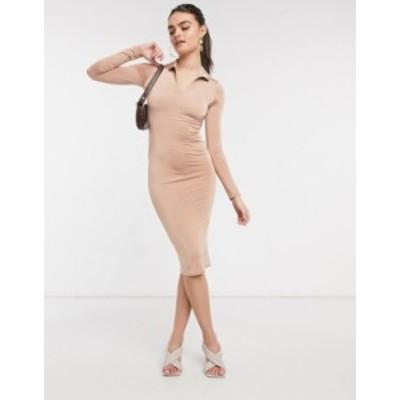 エイソス レディース ワンピース トップス ASOS DESIGN long sleeve slinky zip front midi dress in beige Beige