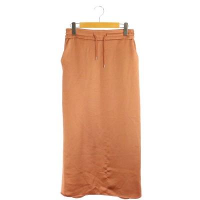 【中古】アンクレイヴ uncrave 20AW サテンスカート ロング タイト 1 オレンジ /MY ■OS レディース 【ベクトル 古着】