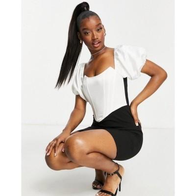 セイント ジーニーズ レディース ワンピース トップス Saint Genies puff sleeve corset top mini dress in mono Mono