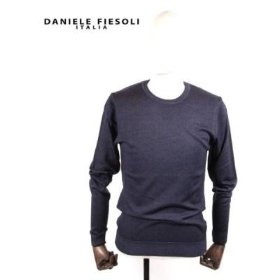 DANIELE FIESOLI ダニエレ フィエゾーリ ハイゲージクルーネックニットセーター DF0002 ネイビー 国内正規品