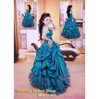 ブルーグリーン カラードレス シルクタフタ風情 Vネックライン プリンセスラインパニエ付き