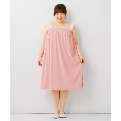 大きいサイズ 綿混フリルレースデザインパイル地ワンピース ,スマイルランド, ワンピース, plus size dress