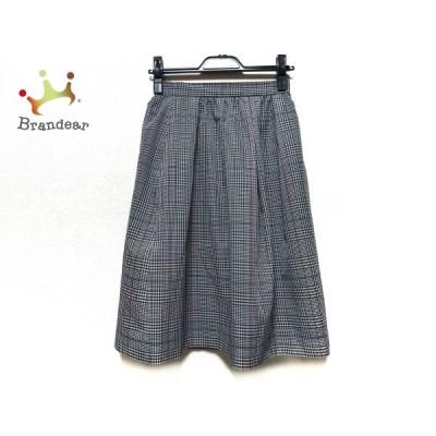 エムズグレイシー スカート サイズ36 S レディース 美品 - 黒×白×マルチ ひざ丈/チェック柄 新着 20201126