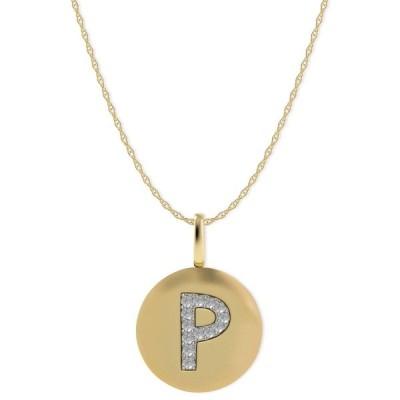 メイシーズ Macy's ユニセックス ネックレス ジュエリー・アクセサリー 14k Gold Necklace, Diamond Accent Letter P Disk Pendant