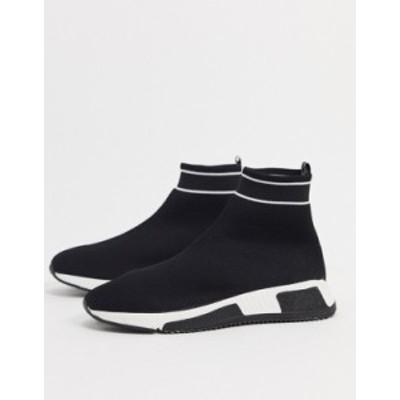 リバーアイランド メンズ スニーカー シューズ River Island prolific sock sneaker in black Black