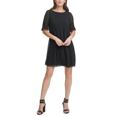 ダナ キャラン ニューヨーク ワンピース トップス レディース Pleated Shift Dress Black