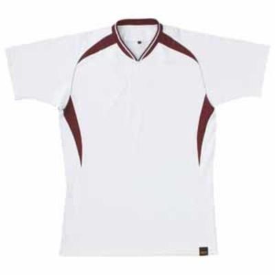ゼット 野球・ソフトボール用 ベースボールシャツ(ホワイト/エンジ M) ZETT 1ボタンタイプ Z-BOT740A-1168-M 【返品種別A】
