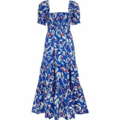 トリー バーチ Tory Burch レディース ワンピース ミドル丈 ワンピース・ドレス Floral stretch-poplin midi dress Blue Painted Roses