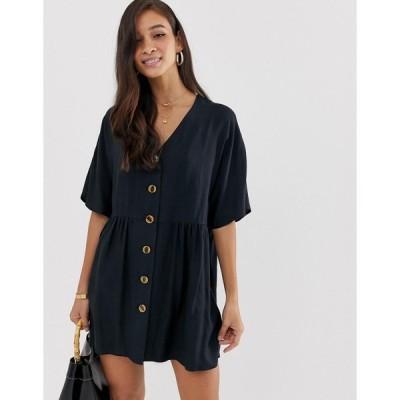 エイソス ミニドレス レディース ASOS DESIGN v neck button through mini smock dress エイソス ASOS ブラック 黒