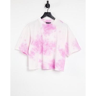 エイソス ASOS DESIGN レディース Tシャツ トップス oversized t-shirt in tie dye in pink ピンク