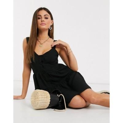 ミスガイデッド レディース ワンピース トップス Missguided tiered cami dress in black